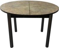 Обеденный стол Solt Круглый раздвижной (мрамор золотой/ноги круглые черные) -