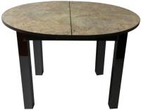 Обеденный стол Solt Круглый раздвижной (мрамор золотой/ноги квадратные черные) -