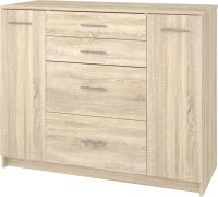 Комод Кортекс мебель Модерн 120-2д4ш (дуб сонома) -