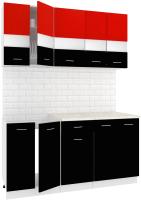 Готовая кухня Кортекс-мебель Корнелия Экстра 1.6м (красный/черный/мадрид) -