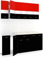 Готовая кухня Кортекс-мебель Корнелия Экстра 1.8м (красный/черный/королевский опал) -