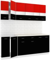 Готовая кухня Кортекс-мебель Корнелия Экстра 2.0м (красный/черный/мадрид) -