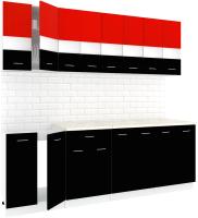 Готовая кухня Кортекс-мебель Корнелия Экстра 2.4м (красный/черный/королевский опал) -