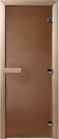 Стеклянная дверь для бани/сауны Doorwood 200x70 (бронза матовая, коробка ольха) -