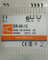 Блок питания на DIN-рейку КС DR-60W-12V / dr-60-12 -