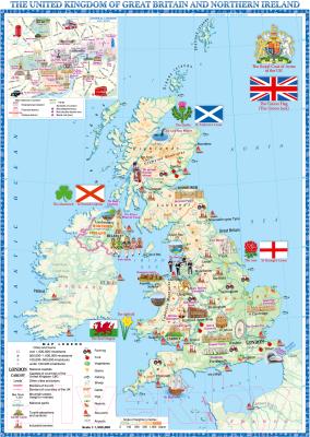 Настенная карта Белкартография Великобритания и Северная Ирландия