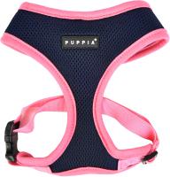 Шлея-жилетка для животных Puppia Soft II / PATD-HA1770-NY-M (синий/розовый) -