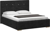 Двуспальная кровать Woodcraft Валенсия 160 вариант 12 (черный велюр) -