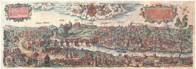 Постер Белкартография Гродна 1568 год. Реконструкция гравюры