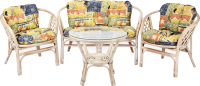 Комплект садовой мебели Мир Ротанга Багама 01/17 стол, диван, два кресла (белый) -