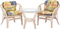 Комплект садовой мебели Мир Ротанга Багама 01/17 стол, два кресла (белый) -