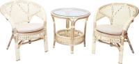 Комплект садовой мебели Мир Ротанга Багама 02/15 стол, два кресла (белый) -