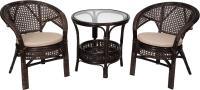 Комплект садовой мебели Мир Ротанга Багама 02/15 стол, два кресла (шоколад) -