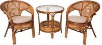 Комплект садовой мебели Мир Ротанга Багама 02/15 стол, два кресла (коньяк) -
