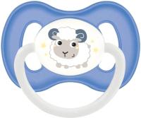 Пустышка Canpol Bunny&Company латексная круглая 0-6мес / 23/277 (синий, со светящимся колечком) -