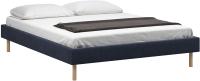 Полуторная кровать Woodcraft Лачи 140 вариант 2 (светлый лак/темно-синий велюр) -