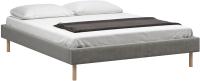 Полуторная кровать Woodcraft Лачи 140 вариант 4 (светлый лак/серый вельвет) -