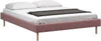 Полуторная кровать Woodcraft Woodcraft Лачи 140 вариант 5 (светлый лак/розовый вельвет) -