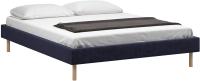 Полуторная кровать Woodcraft Лачи 140 вариант 6 (светлый лак/темно-синий вельвет) -