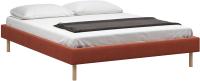 Полуторная кровать Woodcraft Лачи 140 вариант 7 (светлый лак/оранжевый велюр) -