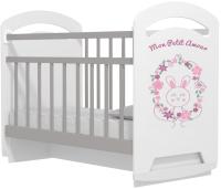 Детская кроватка VDK Mon Amur колесо-качалка с маятником (белый/серый) -