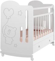 Детская кроватка VDK Sweet Bear колесо-качалка и ящик (белый) -
