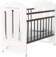 Детская кроватка VDK Bonne колесо-качалка (белый/венге) -