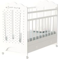 Детская кроватка VDK Bonne колесо-качалка и ящик (белый) -