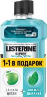 Набор для ухода за полостью рта Listerine Ополаскиватель д/полости рта защита десен и зубов + Свежая мята (250мл+250мл) -