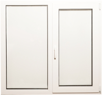 Окно ПВХ Добрае акенца С глухой и поворотно-откидной створками 2 стекла (1200x1200) -