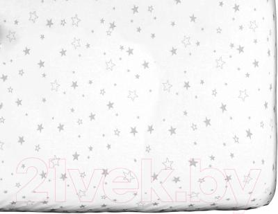 Простыня детская Martoo Comfy / СM160x80-1-WT-GRST (серые звезды на белом)
