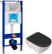 Унитаз подвесной с инсталляцией Sanita Luxe Attica Black SL ATCSLWH0110 + INS-0000004 -