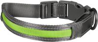 Ошейник Duvo Plus 10641/DV (нейлоновый, светящийся, серый/зеленый) -