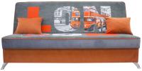 Диван Аквилон Хит (лондон/пони графит/мазерати оранжевый) -