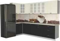 Готовая кухня Интерлиния Мила Деко 1.2x3.0 (пепел/слоновая кость/травертин серый) -