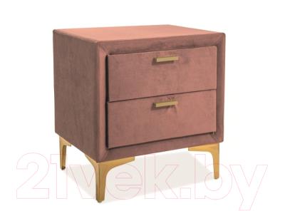 Прикроватная тумба Signal Monako Velvet (античный розовый/золото)