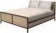 Двуспальная кровать Millwood Neo Loft КМ-2.6 (Л) (дуб золотой Craft/металл черный) -