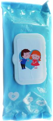 Влажные салфетки детские Aqua Viva Антибактериальные с клапаном (72шт)