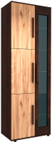 Шкаф с витриной Заречье Крафт КТ16 МЦН (дуб крафт табачный/орех вирджиния) -