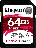 Карта памяти Kingston Canvas React SDXC (Class 10) UHS-I 64Gb (SDR/64GB) -