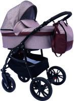 Детская универсальная коляска Alis Road 2 в 1 (Ro 02, бордовый/бордовая кожа) -