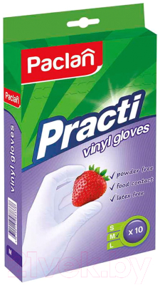 Перчатки одноразовые Paclan Practi виниловые (L, 10шт)