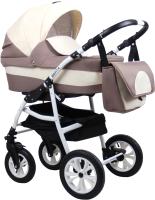 Детская универсальная коляска Alis Berta 20 F 3 в 1 (Be 20, бежевый/светло-бежевый) -