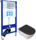Унитаз подвесной с инсталляцией Sanita Luxe Attica Black SL ATCSLWH0110 + INS-0000006 -
