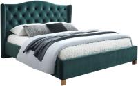 Полуторная кровать Signal Aspen Velvet 140x200 (Bluvel 78 зеленый/дуб) -