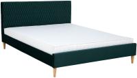 Двуспальная кровать Signal Azzuro Velvet 180x200 (Bluvel 78 зеленый/дуб) -