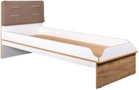 Односпальная кровать Mobi Вуди 11.01 (белый премиум/дуб золотой Craft/гранд белый/саванна латте) -