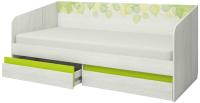 Кровать-тахта Аквилон Эко №900.4 (рамух белый/лайм) -