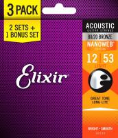 Струны для акустической гитары Elixir Strings 16539 12-53 Bronze Nanoweb -