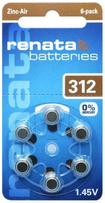 Комплект батареек Renata ZA-312 BL-6 1.4V
